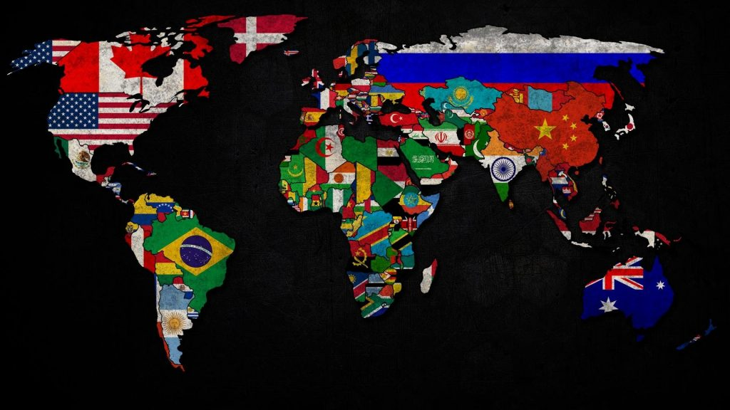 Image of World Map with Flags